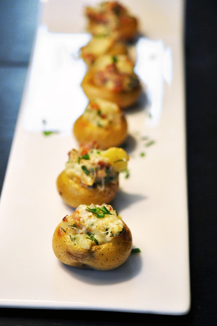 Twice-baked mini potatoes appetizer | NYE, Gatsby, Art Deco, Speakeasy, Prohibition, Moonshine, Burlesque, Gangster, Casino or Harlem Nights theme | 1920's
