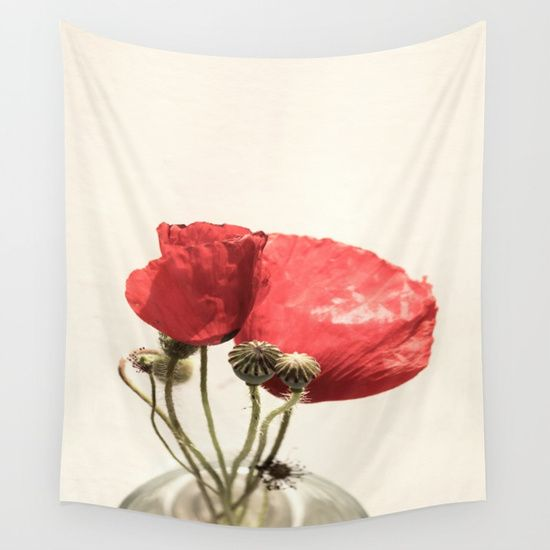 Poppies In Vase Wall Tapestry by ARTbyJWP from Society6 #tapestries #walltapestry #walldeco #poppy #floral --   Available in three distinct sizes, our Wall Tapestries are made of 100% lightweight polyester with hand-sewn finished edges. Featuring vivid colors and crisp lines, these highly unique and versatile tapestries are durable enough for both indoor and outdoor use. Machine washable for outdoor enthusiasts, with cold water on gentle cycle using mild detergent - tumble dry with low heat.