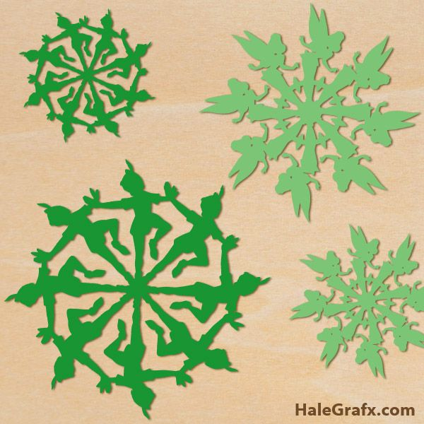 tinkerbell peter snowflake FREE Christmas Peter pan and Tinkerbell Snowflake SVG Pack