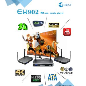 EW902 - 4K+3D+HDMI IN+USB3.0+1000M Ethernet+SATA Realtek 1195 Android TV Box