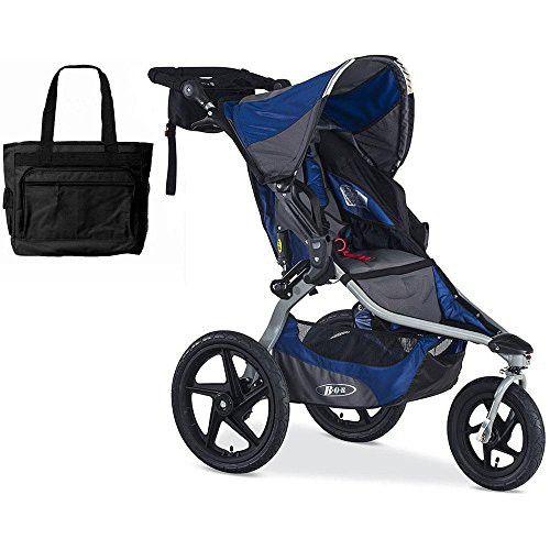 BOB Blue Stroller Strides Fitness Stroller with FREE Stylish Diaper Bag