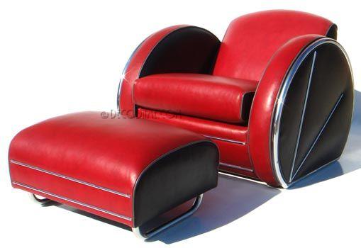 Streamline Art Deco Style Sofa, Loveseat, Club Chair & Ottoman   Circa 1930's Donald Deskey Style