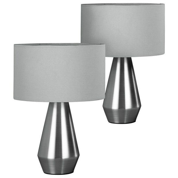 Buy Habitat Maya Pair Of Touch Table Lamps Grey Table Lamps Argos Touch Table Lamps Grey Table Lamps Bedside Lamps Grey