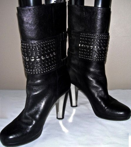 HUGO BOSS ORANGE Black Leather Studded Platform Boots Heels Biker Motorcycle ~ Give these a shorter heel, and they are SOLD