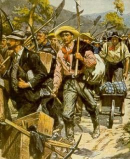 The Australian Gold Rush via the Public Record Office of Northern Ireland #history #genealogy (Image of gold fever miners).