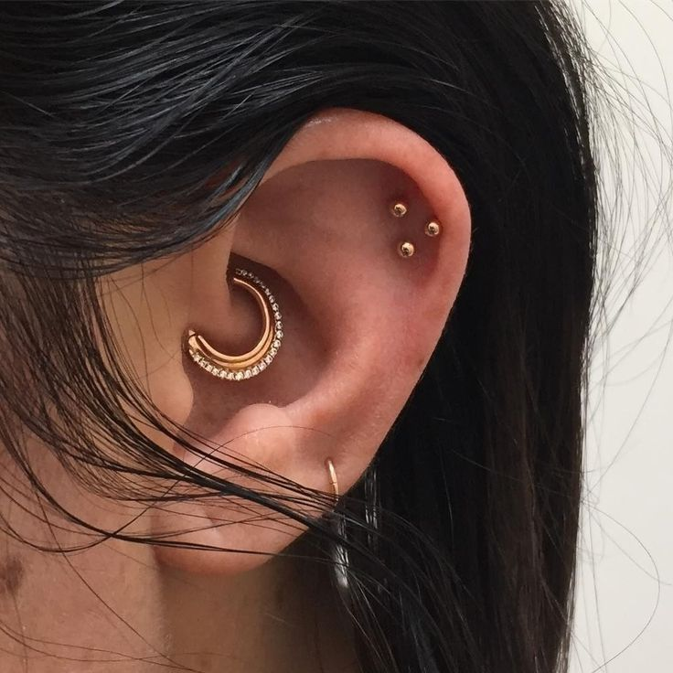 "1,235 Likes, 14 Comments - Maria Tash (@maria_tash) on Instagram: ""Stunning #CuratedEar, the brilliant stones in the #daith are complimented by simple gold ball studs…"""