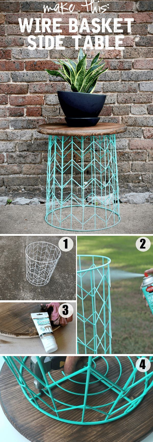 Wire Basket Side Table // This really simple and small table doesn't take much effort to build.