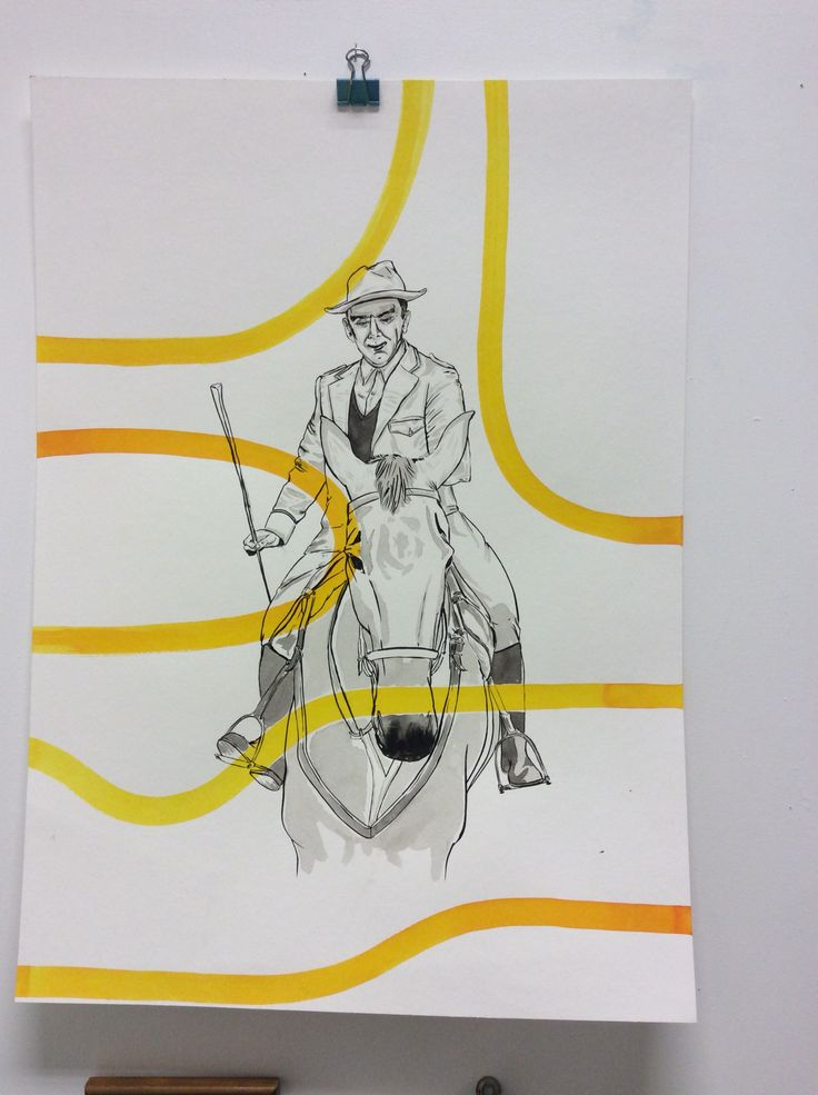 Close up of one of the bigger ink drawings , man on horse