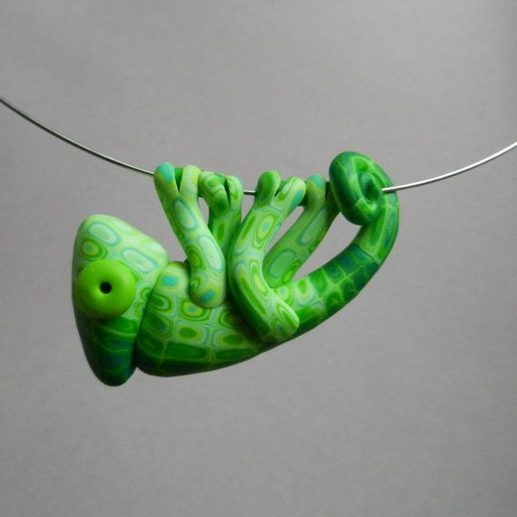 Hand made polymer clay green chameleon pendant by Twiggynkaa, £12.00