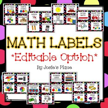 Organize your math area with these EDITABLE math label for your manipulatives.This pack has just been revised and updated to include more labels!