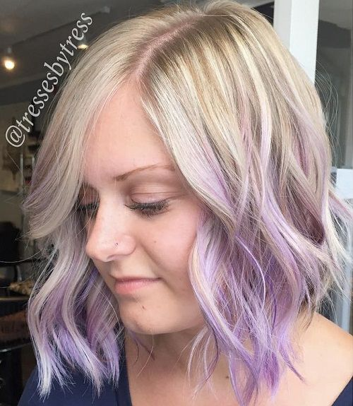 Ash Blonde To Pastel Purple Ombre Bob
