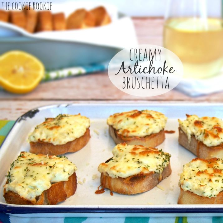 Creamy artichoke bruschetta !  Is the perfect appetizer for any occasion. Quick, easy, and delicious !