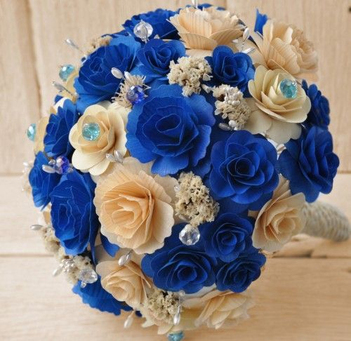 Royal Blue And Gold Wedding Decorations: Wooden Bouquet - Royal Blue And Ivory