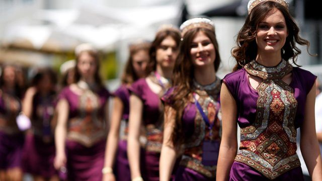 Grid girls at Formula One World Championship, Rd8, European Grand Prix, Qualifying, Baku City Circuit, Baku, Azerbaijan, Saturday 18 June 2016. © Sutton Images
