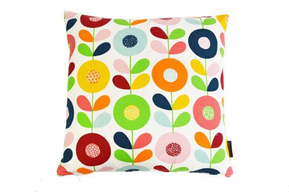 Scandinavian Retro multi stem flowers fabric cushion by Andshine