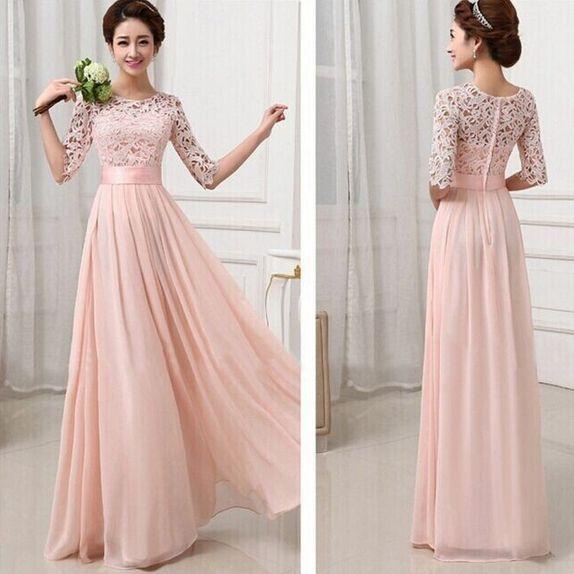 Slim Lace Stitching Chiffon Dress