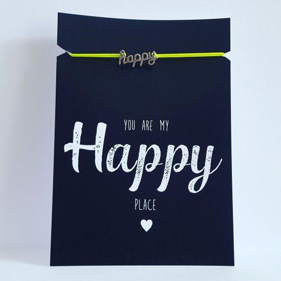 Kaart met armbandje Happyarmbandjefelgeelkaart 10,5 * 14,8 cmYou are my Happy place