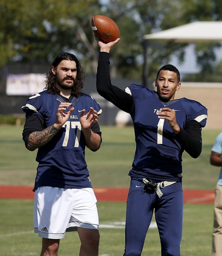 Andre Roberson with the Oklahoma City Thunder throws a pass as teammate Steven Adams watches during a Heritage Hall football practice at the high school in in Oklahoma City, Wednesday, Sept. 14, 2016. Photo by Bryan Terry, The Oklahoman