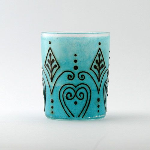 Opal Moon Henna Light Blue Small Votive Hennaed Diamond and Heart Candle Holder $12 Cyber Monday Sale