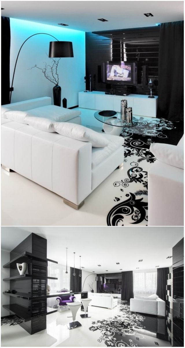 Наливной пол с узорами - Black and white flooring