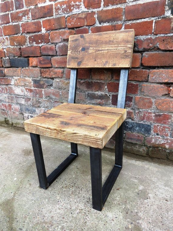 Reclaimed Industrial Chic Chair. For standard Tables Steel and Wood Metal Hand…