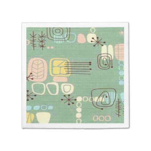 Mid Century Modern Graphic Design Paper Napkins--These are the perfect napkins for any party with a 50s or 60s vibe. #MCM #MidCentury #Napkins #Party #Zazzle #Retro