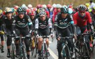 Gianni Moscon (L) of Team Sky and Italy rides with team mates Peter Kennaugh (C) of Great Britain and Nicolas Roche of Ireland during the third stage of the 2016 Tour de Yorkshire