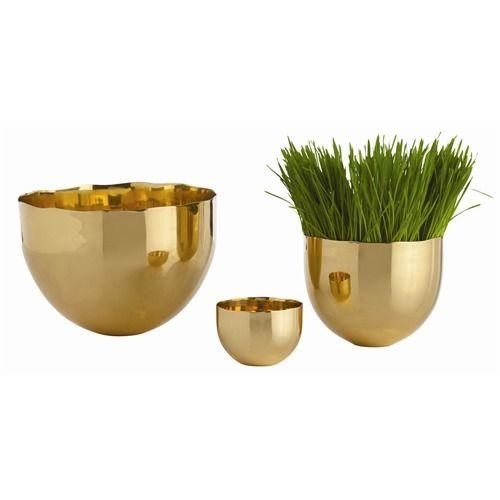 Stockholm Polished Brass Bowls, Set of 3