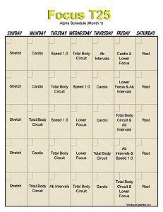 T25 Workout Calendar