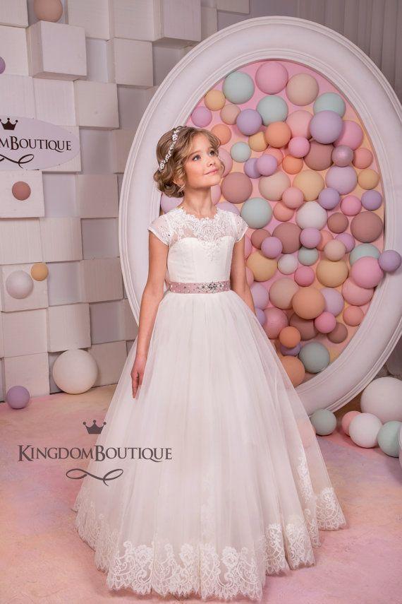 Lace Ivory Flower Girl Dress Holiday Wedding by KingdomBoutiqueUA