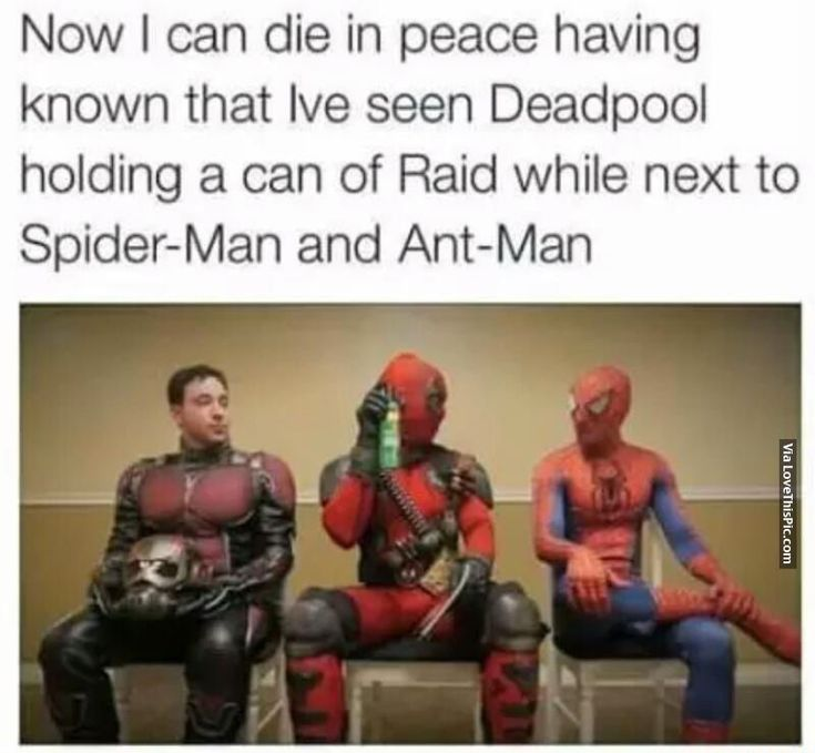 Deadpool Holding A Can Of Raid Next To Spider-Man And Ant-Man