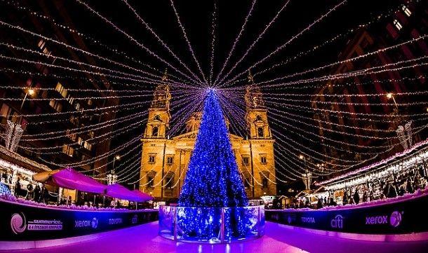 Budapest Basilica at Christmas time