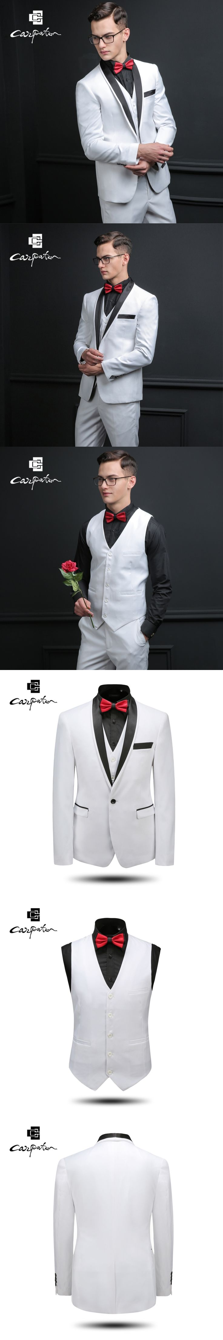 Carpaton Men Suit White Wool Designer Three Piece Suit Brand Shawl Collar Tuxedo Large Size Grooms Wedding Suits For Men