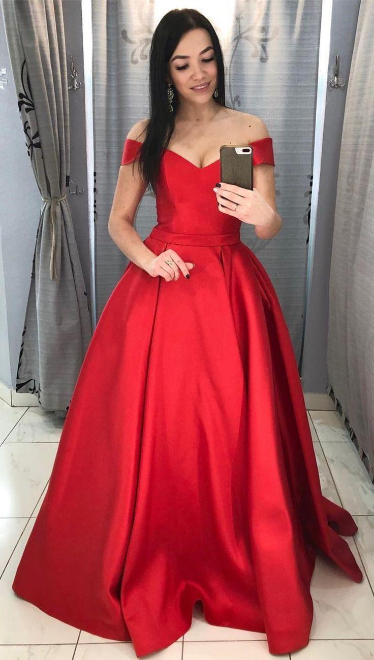 Weg von der Schulter Reich langes rotes Abendkleid  Rotes