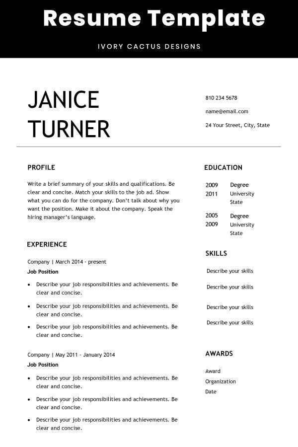 Simple Resume Template Resume Template Word Resume Template Simple Resume Template