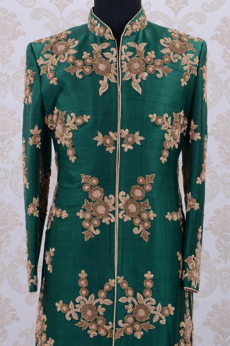 Buy Wedding SherwaniBottle Green & GoldZardosi work Online