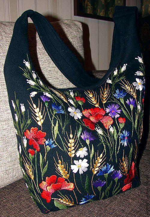 """Купить Вышитая сумка """"Маковое поле"""" - черное сукно - сумка, вышивка гладь, шерсть"""