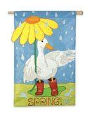 Garden Flag April Showers by House-Impressions. $12.95. Hand-crafted with soft high quality nylon fabric. Double-sided, read from both sides. Fade-resistant. Make an impression! These beautiful, brightly colored, creatively designed flags are the perfect way to greet someone to your home or garden. Made with tight-stitching and high quality material to last and last. Our applique regular size flags are extra-durable, weather-wear- and fade-resistant, sure to hang proudly in f...
