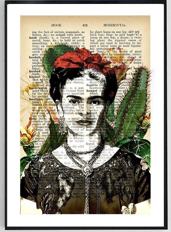 Frida Kahlo Art Upcycled Dictionary Print Frida Kahlo Print