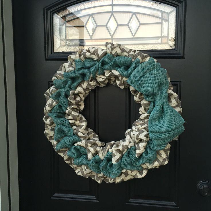 Teal & grey chevron burlap wreath