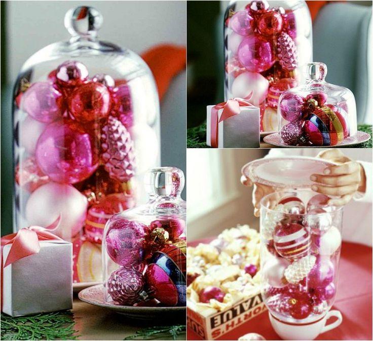 Glasglocke weihnachtlich dekorieren