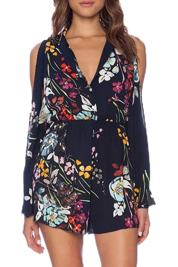 Love Love LOVE this Jumpsuit! Gorgeous Colors! Love the Sexy Cold Shoulder Design! V-neck Long Sleeve Off the Shoulder Floral Jumpsuit #Sexy #Black #Floral #Cold_Shoulder #Jumpsuit #Summer #Fashion #Boho #Chic #Outfit #Ideas