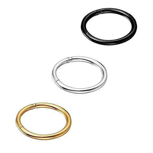 e85ae414c8c3c Yi Niao 3PCS Stainless Steel Seamless Nose Ring Hinged Body Piercing ...