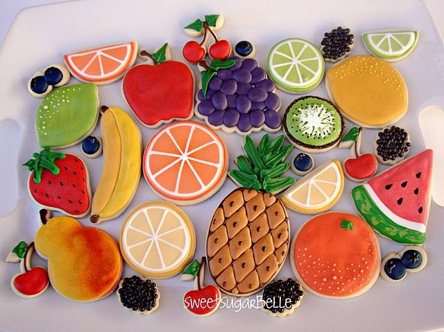 fruit cookies - the pineapple, blackberries, and bunch of grapes are especially cool