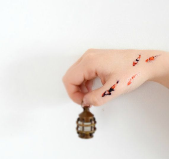 tiny koi fish temporary tattoo koi fish gold fish