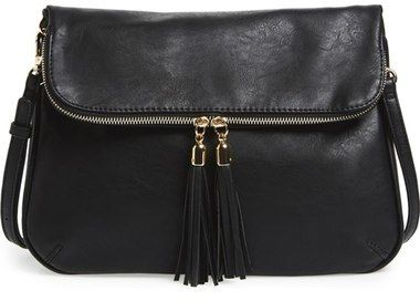 BP. Foldover Crossbody Bag - assel-tipped zippers and golden accents style a versatile crossbody bag made from smooth faux leather.      Top zip closure.     Optional, adjustable crossbody strap.     Exterior zip pocket.     Polyurethane.