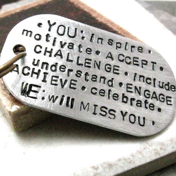Going Away Gift Key Chain, rounded aluminum dog tag, antique copper split ring, customize this with your own quote. $22.95, via Etsy.