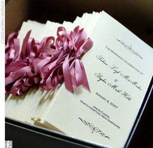 pink wedding programs: Pink Wedding, Wedding Inspiration, Colors Rosa, Purple Ribbon, Program Inspiration, Pink Ribbons, Pink, Wedding Program, Ceremony Program