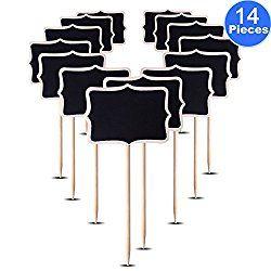 AUSTOR 14 PCS Mini Chalkboard Stakes Blackboard Plant Tags, 3.15″ x 2.36″