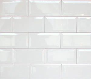 $90 White Beveled Subway Butchers Wall Tiles - 2.70 m2